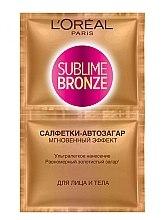 Парфюми, Парфюмерия, козметика Автобронзиращи кърпички за лице и тяло - L'oreal Sublime Self-Tan Face And Body Wipes