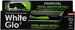 Парфюмерия и Козметика Комплект - White Glo Charcoal Total Mouth Detox (паста за зъби/150g + четка)