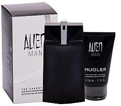 Парфюми, Парфюмерия, козметика Mugler Alien Man - Комплект (тоал. вода/100ml+ душ гел/50ml)