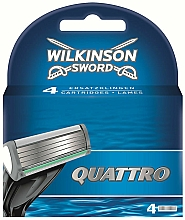 Парфюмерия и Козметика Сменяеми ножчета за бръснене, 4 бр. - Wilkinson Sword Quattro Cartridge Razor Blades