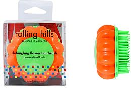 """Парфюмерия и Козметика Компактна четка за коса """"Маргаритка"""", оранжево-зелена - Rolling Hills Brosse Demelante Flower"""