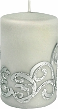 Парфюмерия и Козметика Декоративна свещ , сива , 7x10 см - Artman Christmas Ornament