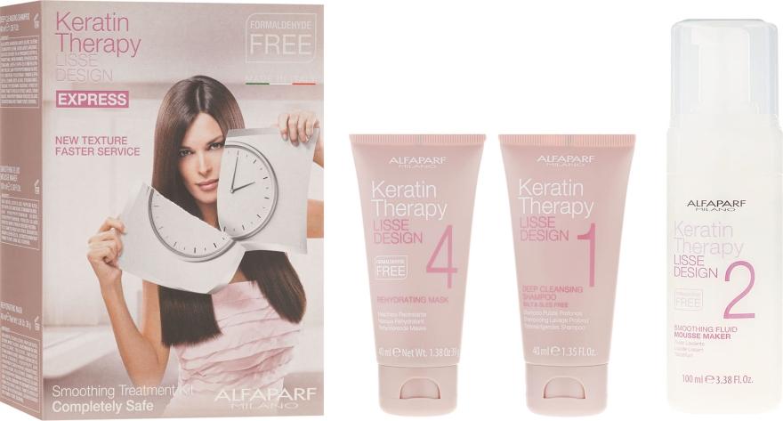 Комплект кератиново възстановяване на косата - Alfaparf Milano Lisse Design Keratin Therapy Smoothing Treatment Kit (shmp/40ml + moose/100ml + hair/mask/40ml)