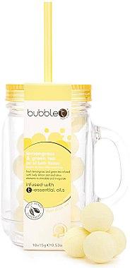 Бомбички за вана в бурканче с аромат на зелен чай с лимонова трева - Bubble T Bath Fizzers In Reusable Jar Lemongrass Green Tea — снимка N1