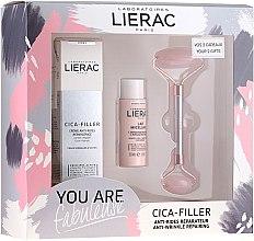 Парфюмерия и Козметика Комплект за лице - Lierac Cica-Filler Set (крем/40ml + мляко/30ml + масажор/1 бр)