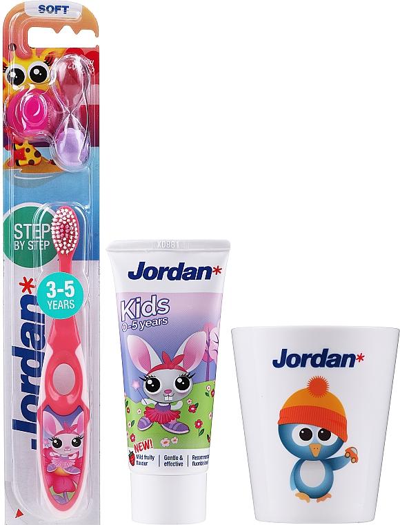 """Детски комплект за зъби """"Зайче"""" - Jordan Kids (паста/50ml + четка/1бр. + чаша)"""