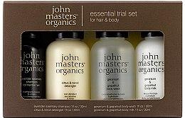 Парфюми, Парфюмерия, козметика Комплект - John Masters Organics Essential Trial Set (sh/30ml + cond/30ml + sh/gel/30ml + b/milk/30ml)