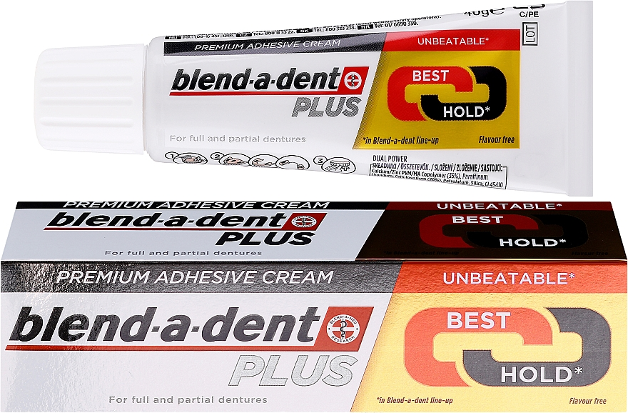 Фиксиращ крем за зъбни протези - Blend-A-Dent Premium Adhesive Cream Plus Dual Power Light Mint