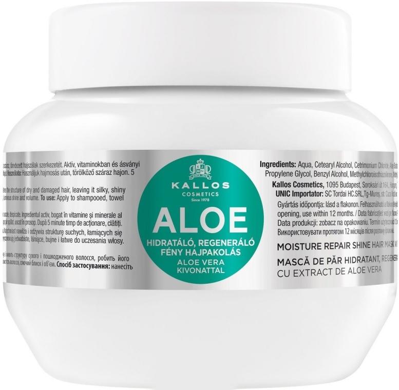 """Маска за овлажняване и възстановяване на суха и увредена коса """"Алое"""" - Kallos Cosmetics Moisture Repair Aloe Hair Mask"""