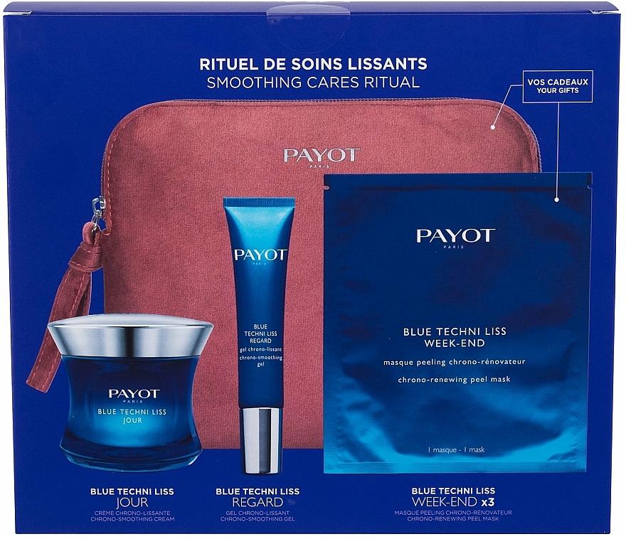 Комплект за лице - Payot Blue Techni Liss Smoothing Cares Ritual (крем/50ml + околоочен крем/15ml + маска/3pcs + несесер) — снимка N1