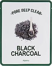 Парфюмерия и Козметика Черна памучна маска с активен въглен за дълбоко почистване на порите - A'pieu Pore Deep Clear Black Charcoal Mask