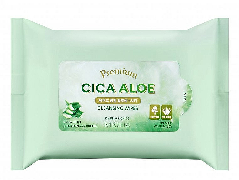 Почистващи кърпички с алое - Premium Cica Aloe Cleansing Wipes — снимка N1