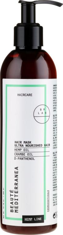 Ултра подхранваща маска за коса с конопено масло - Beaute Mediterranea Hemp LineHairMask Ultra Nourished Hair