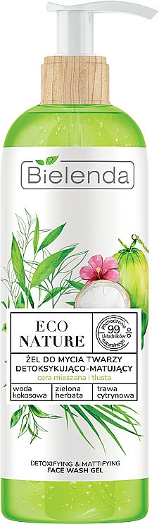 Детоксикиращ и матиращ почистващ гел за лице - Bielenda Eco Nature Coconut Water Green Tea & Lemongrass Detox & Mattifyng Face Wash Gel