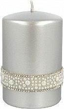 Парфюмерия и Козметика Декоративна свещ сребърна, 7х10см - Artman Crystal Opal Pearl