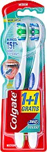 Парфюмерия и Козметика Комплект четки за зъби - Colgate 360 Whole Mouth Clean Medium