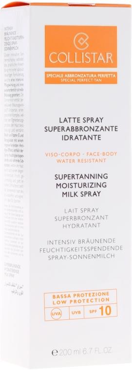 Хидратиращо слънцезащитно мляко - Collistar Supertanning Moisturing Milk Spray SPF 10 water resistant — снимка N2