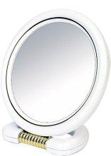 Парфюмерия и Козметика Двустранно кръгло огледало на стойка, бяло 18,5 см - Donegal Mirror