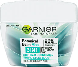 "Парфюми, Парфюмерия, козметика Крем маска за лице 3в1 ""Алое"" - Garnier Botanical Balm Aloe 3in1 Day Cream Night Cream Mask"