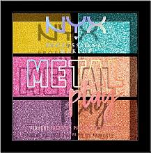 Парфюмерия и Козметика Палитра пигменти за очи, лице и тяло - NYX Professional Makeup Metal Play Pressed Pigment Palette
