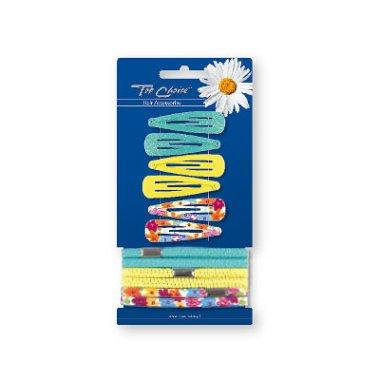 Комплект фиби и ластици за коса 28199, 6+6 бр. - Top Choice — снимка N1