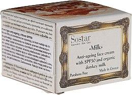 Парфюмерия и Козметика Антистареещ крем за лице - Sostar Anti-Ageing Face Cream SPF50 with Donkey Milk