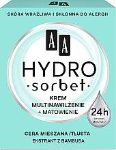 Парфюми, Парфюмерия, козметика Матиращ мултифункционален крем за лице - AA Cosmetics Hydro Sorbet Moisturising & Mattifying Cream