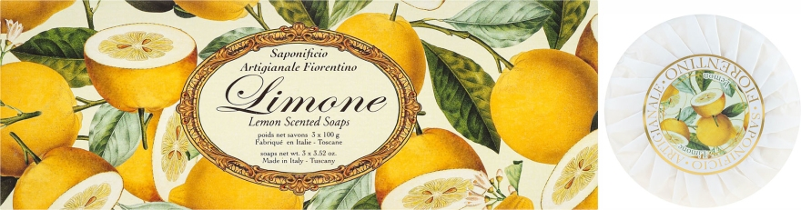 Комплект сапуни с аромат на лимон - Saponificio Artigianale Fiorentino Lemon Soap — снимка N1