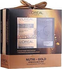 Парфюмерия и Козметика Комплект за лице - Loreal Nutri Gold (крем-маска/50 ml + крем-масло.50 ml + мицел. вода/200 ml)