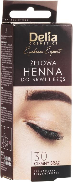 Гел-къна за вежди, тъмно кафява - Delia Eyebrow Tint Gel ProColor 3.0 Dark Brown