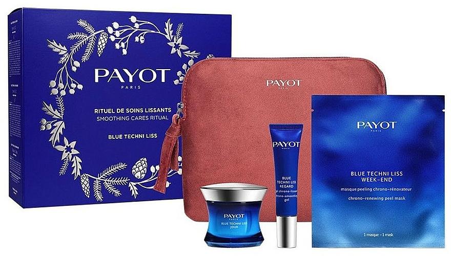 Комплект за лице - Payot Blue Techni Liss Smoothing Cares Ritual (крем/50ml + околоочен крем/15ml + маска/3pcs + несесер) — снимка N2