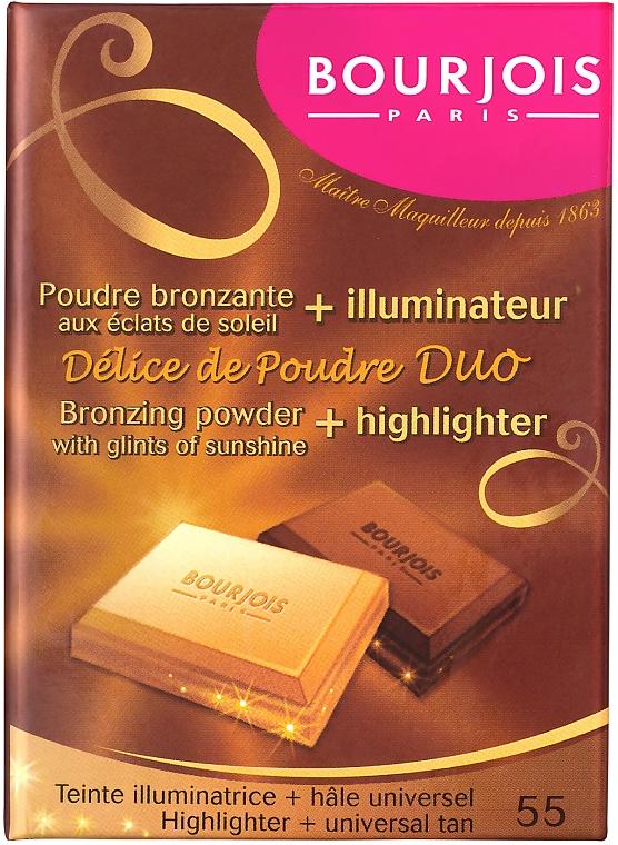 Компактна пудра за лице - Bourjois Delice De Poudre Bronzing Duo Powder + Highlighter — снимка N1