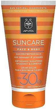 Слънцезащитно мляко за лице и тяло с гърлица и прополис - Apivita Suncare Face & Body Milk SPF 30 — снимка N1