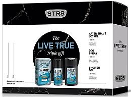 Парфюми, Парфюмерия, козметика STR8 Live True - Комплект (афтър. лосион/100ml + део/150ml + душ гел/250ml)