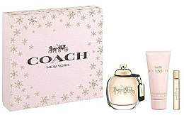 Парфюмерия и Козметика Coach New York Eau De Parfum - Комплект (парф. вода/90ml + лосион/100ml + парф. вода/7.5ml)