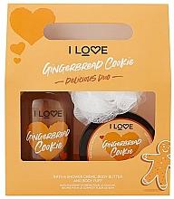 Парфюмерия и Козметика Комплект за тяло - I Love... Gingerbread Cookie Delicious Duo Gift Set (душ крем/500ml+масло/200ml+гъба)