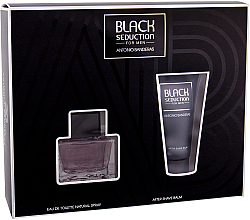 Парфюмерия и Козметика Antonio Banderas Seduction in Black - Комплект (тоал. вода/50ml + афтър. балсам/50ml)