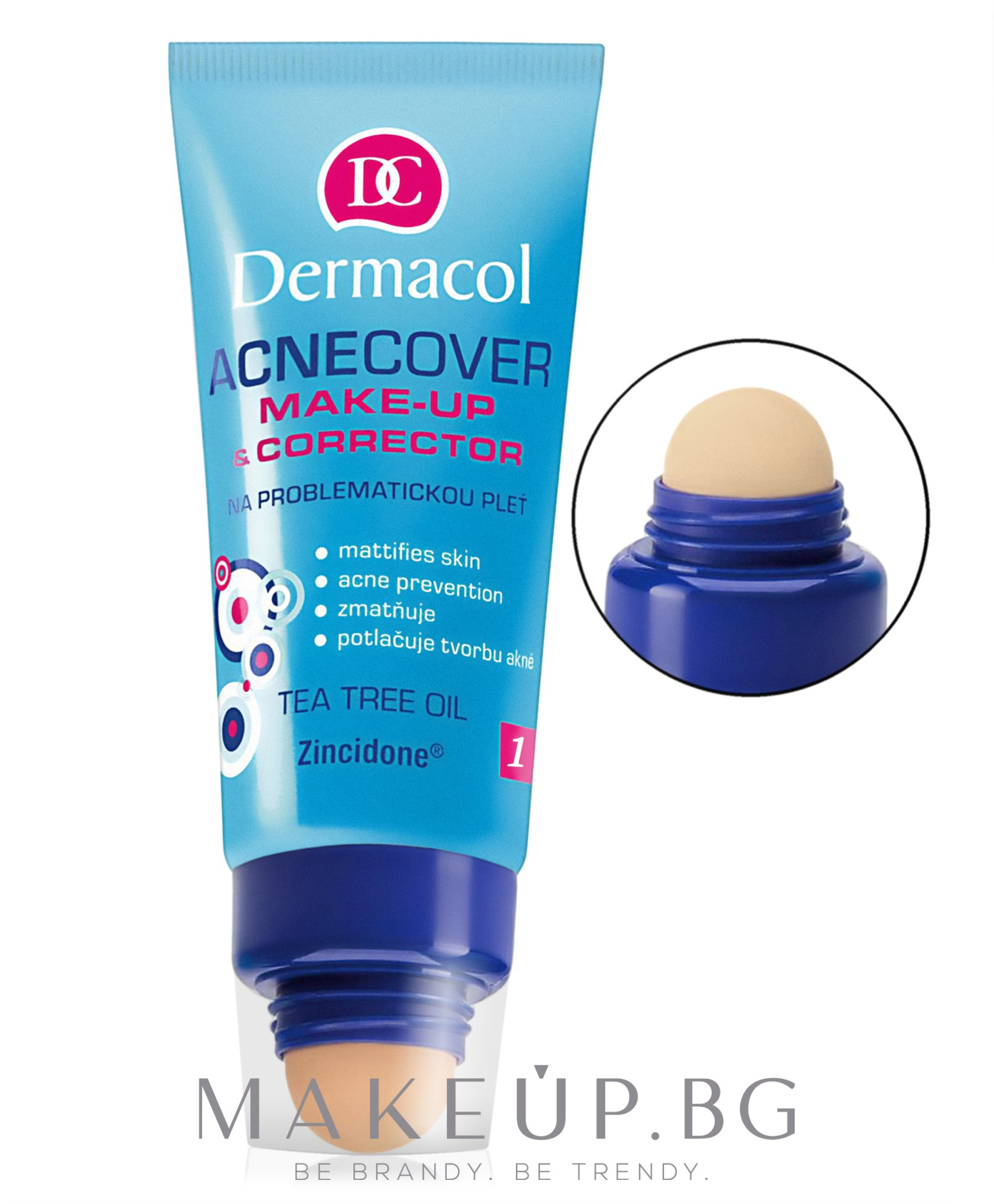 Крем фон дьо тен с апликатор - Dermacol Acnecover Make-Up and Corrector — снимка 01