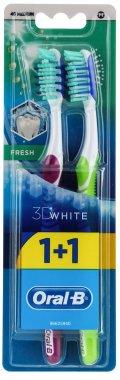 Комплект четки за зъби , 40 средна твърдост , лилава + зелена - Oral-B 3D White Fresh 40 Medium 1+1 — снимка N1