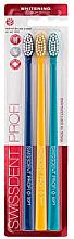 Парфюми, Парфюмерия, козметика Комплект четки за зъби, изключително меки, синьо + жълто + тъмно синьо - Swissdent Profi Gentle Extra Soft Trio-Pack