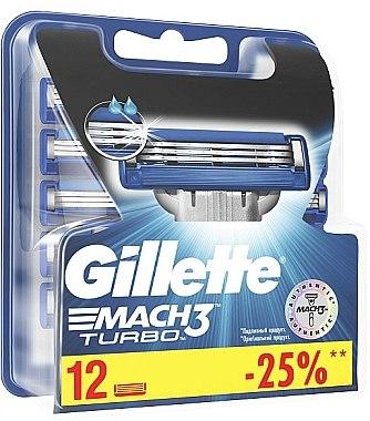 Сменяеми ножчета за бръснене, 12 бр. - Gillette Mach3 Turbo — снимка N1