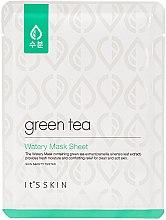 Парфюмерия и Козметика Памучна маска за лице за мазна и комбинирана кожа със зелен чай - It's Skin Green Tea Watery Mask Sheet