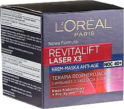Парфюмерия и Козметика Възстановяваща нощна крем-маска за лице - L'Oreal Paris Revitalift Laser X3 Night Cream-Mask