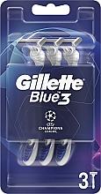Парфюмерия и Козметика Комплект еднократни самобръсначки, 3 бр. - Gillette Blue3 Comfort Football