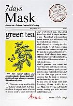 """Парфюмерия и Козметика Маска за лице """"Зелен чай"""" - Ariul 7 Days Mask Green Tea Sebum Control&Peeling"""