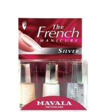 "Парфюми, Парфюмерия, козметика Комплект натурален френски маникюр ""Сребрист нокът"" - Mavala Kit Natural French Silver (nail/2х5ml + dry/5ml)"