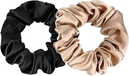 """Парфюмерия и Козметика Комплект копринени ластици за коса """"Midi"""" - Makeup Scrunchie Set Black Gold"""