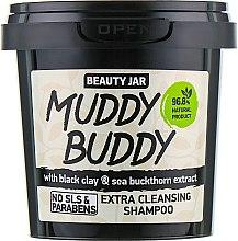 """Дълбоко почистващ шампоан за коса с черна глина """"Muddy Buddy"""" - Beauty Jar Extra Cleansing Shampoo — снимка N1"""