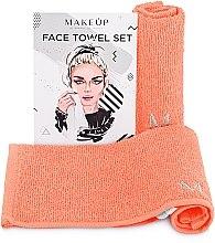 """Парфюмерия и Козметика Комплект кърпи за лице в цвят праскова """"MakeTravel"""" - Makeup Face Towel Set"""
