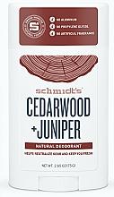 """Парфюмерия и Козметика Натурален стик дезодорант """"Кедър и хвойна"""" - Schmidt's Deodorant Cedarwood Juniper"""